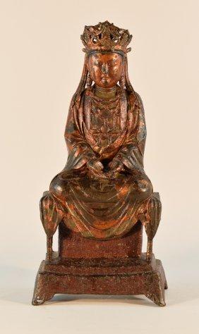 Large Chinese Yuan Ming Bronze Seated Kuanyin