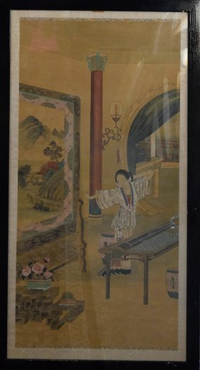 Chinese Painting Of Beauty Scene On Silk