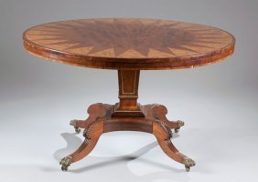 Regency Round Table Consisting Of Rosewood, Walnut