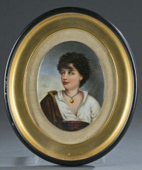 Gypsy Kpm-style Porcelain Portrait Plaque.