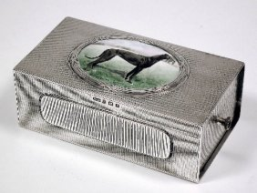 A George V Silver Rectangular Cigarette Box Inset T