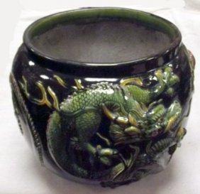 Bretby Green Lustre Glazed Dragon Jardiniere, Impressed