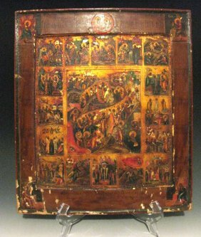 Russian Painted & Gilded Icon Of The Resurrection