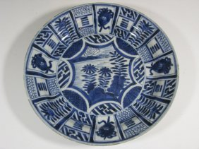 Japanese Kraak Blue And White Ceramic Bowl