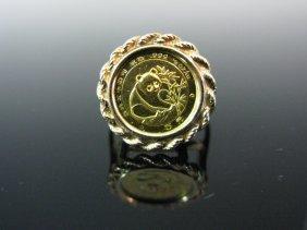 1988 1/20 Oz Gold Bullion Chinese Panda Coin Ring