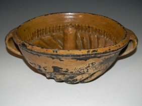 19th Yellowware Turk's Cap Baking Mold Handles