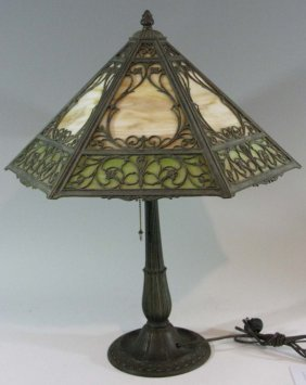 Miller Lamp And 12 Panel Slag Glass Shade