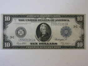 1914 Federal Reserve $10 Reserve Note Bill