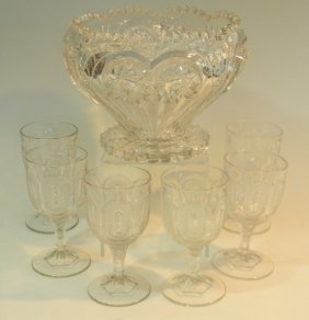 Eapg Footed Punch Bowl And Six Footed Glasses
