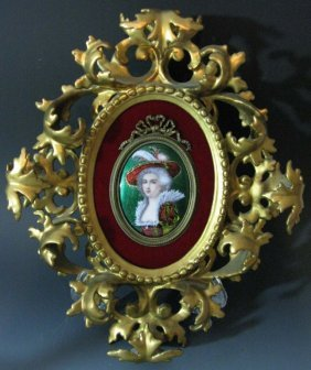 Signed Lamy French Enamel Portrait Plaque