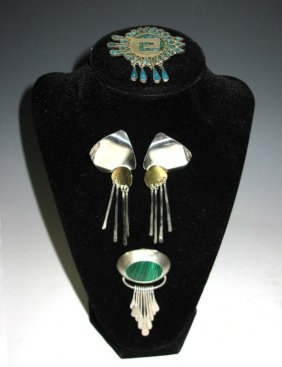 3 Pc Taxco Sterling Earrings, Brooch, Pendant