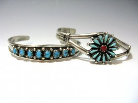2 Vintage Zuni Sterling & Turquoise Cuff Bracelets
