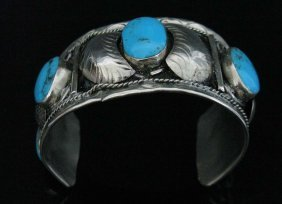 Mexican Sterling And Turquoise Cuff Bracelet