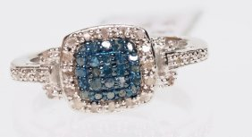 Sterling Ring W/ White & Blue Diamonds