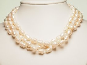Knotted Baroque Freshwater Pearl Necklace