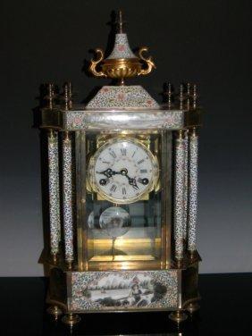 Chinese Enamel Pendulum Mantel Clock