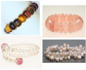 4 Gemstone Bracelets Rose Quartz, Tiger's Eye