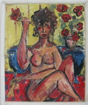 Albert Juliano Outsider Artist Nude Oil Cardboard
