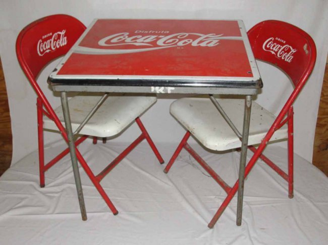 124 coca cola card table with 4 chairs lot 124 - Coca cola table and chairs set ...