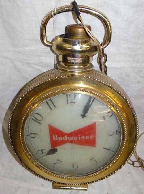 Budweiser Pocket Watch Hanging Clock Sign : Lot 254