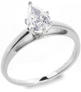 1.01 Ctw E/VS2 Pear Diamond Solitire Ring