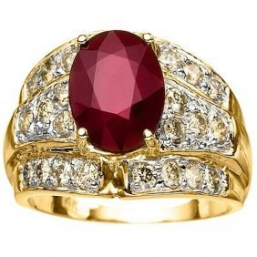 4.00 Ct Ruby & Diamond Solid Gold Ring (heavy)