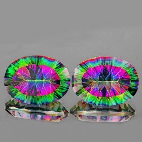 Natural Rainbow Mystic Topaz Pair 20.70 Cts - Flawless