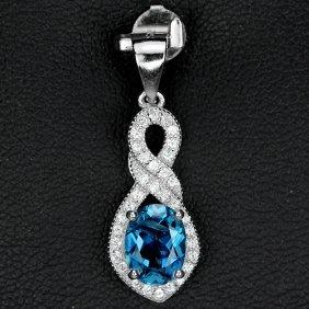 Natural London Blue Topaz Pendant