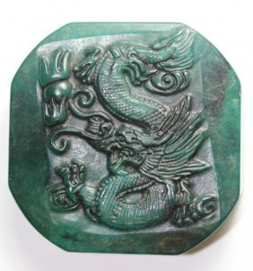 Antique Chinese Green Jade Hand Craved Dragon Seal