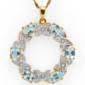 Natural Sky Blue Topaz & Diamond Pendant