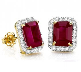 Genuine Ruby & Diamonds 4.89 Carats Solid Gold Earrings