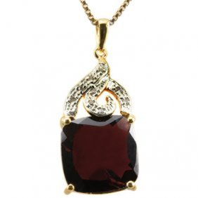 Natural Diamond & Persian Red Garnet Pendant 7.3 Carats