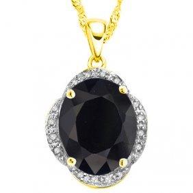 Natural Black Sapphire & Diamond 6.29 Carats Pendant