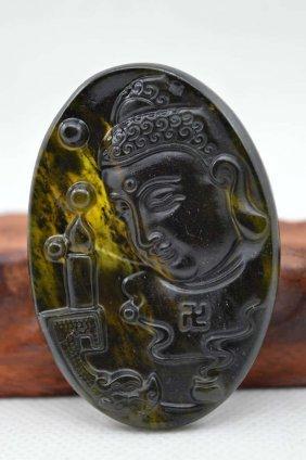 Natural Jade Hand Carved Good Luck Buddha Pendant