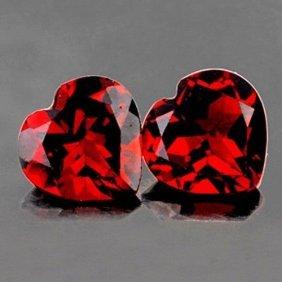 Natural Heart Red Garnet Pair 4.27 Carats - Flawless