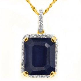 Natural Black Sapphire & Diamond 3.99 Carats Pendant