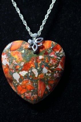 Natural Multi-color Jasper Heart Stone Necklace