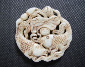 Old China Jade Hand-carved Fish And Lotus Root Pendant