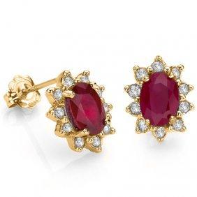 Natural Ruby & Diamond Earrings