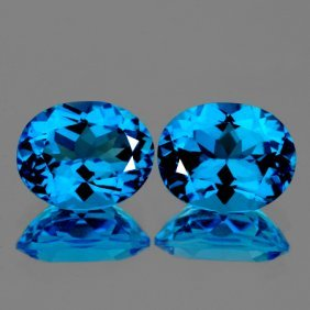 Natural Swiss Blue Topaz Pair 15.95 Cts - Flawless