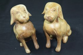 Hand Carved Wooden Puppies