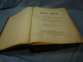 A 19th C Bible With Embossed Leather Binding, Old & New