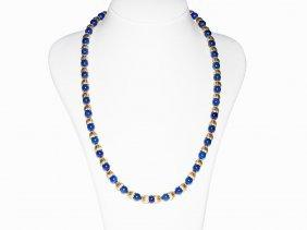 Lapis Lazuli Necklace With 18k Yellow Gold Calyxes,