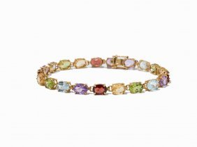Filigree 18 K Yellow Gold Bracelet With Multicolor