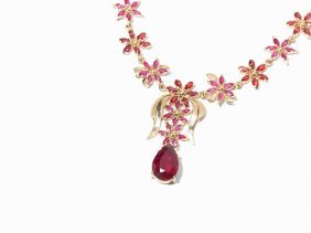 Delicate Ruby & Sapphire Necklace With Flower Design,