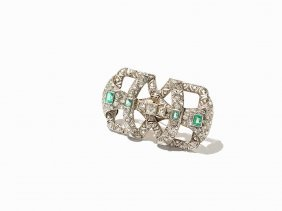 Art Deco Brooch, 124 Diamonds & 4 Colombian Emeralds