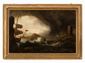 Wreckage Off The Rocky Coast, Oil Painting, 19th C.