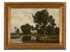 Léon Richet (1847-1907), Landscape With Pond, Late 19th