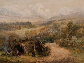 David Payne, Landscape With Donkey And Tent, Oil, C.