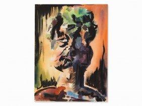 Mikhail Turovsky, Watercolor, Abstract Portrait, 20th